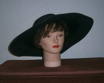 Lilly Dache Black Wide Brim Hat