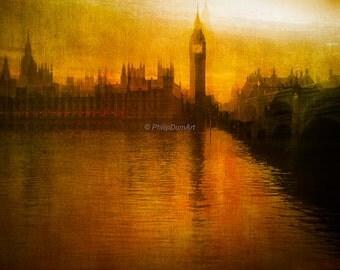 Westminster Bridge, London, England, Great-Britain, Thames river, orange sunset, color photography, oil painting style, romantic cityscape
