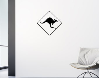 Kangaroo Crossing Decal, Kangaroo Crossing, Australia Decal, Australia Print, Wall Decal