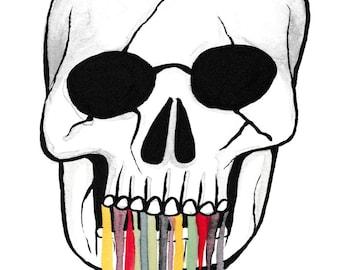Watercolor Paint Ink Skull Art Print