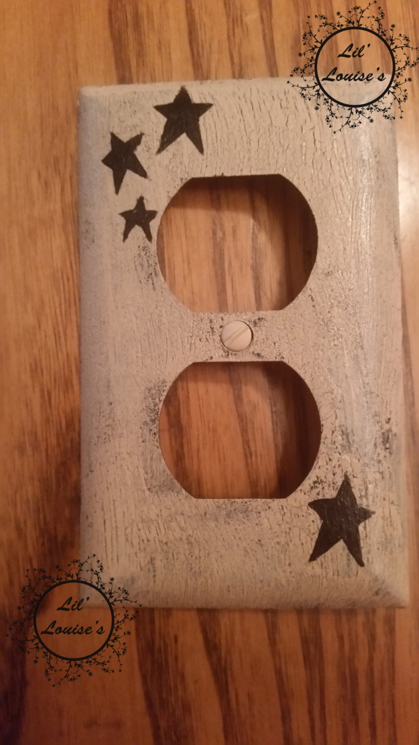 Rustic Switch Plate Covers Primitive Stars Outlet Switch Plate Cover Black Ivory Country