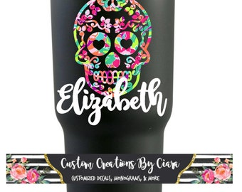Sugar Skull Etsy - Sugar skull yeti cup