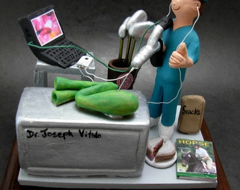 "Laparoscopic Surgeon Figurine, Custom Made Gift for a ""Keyhole"" Gall Bladder Surgeon - Personalized Surgeon Graduation Gift, Doctor Figurine"