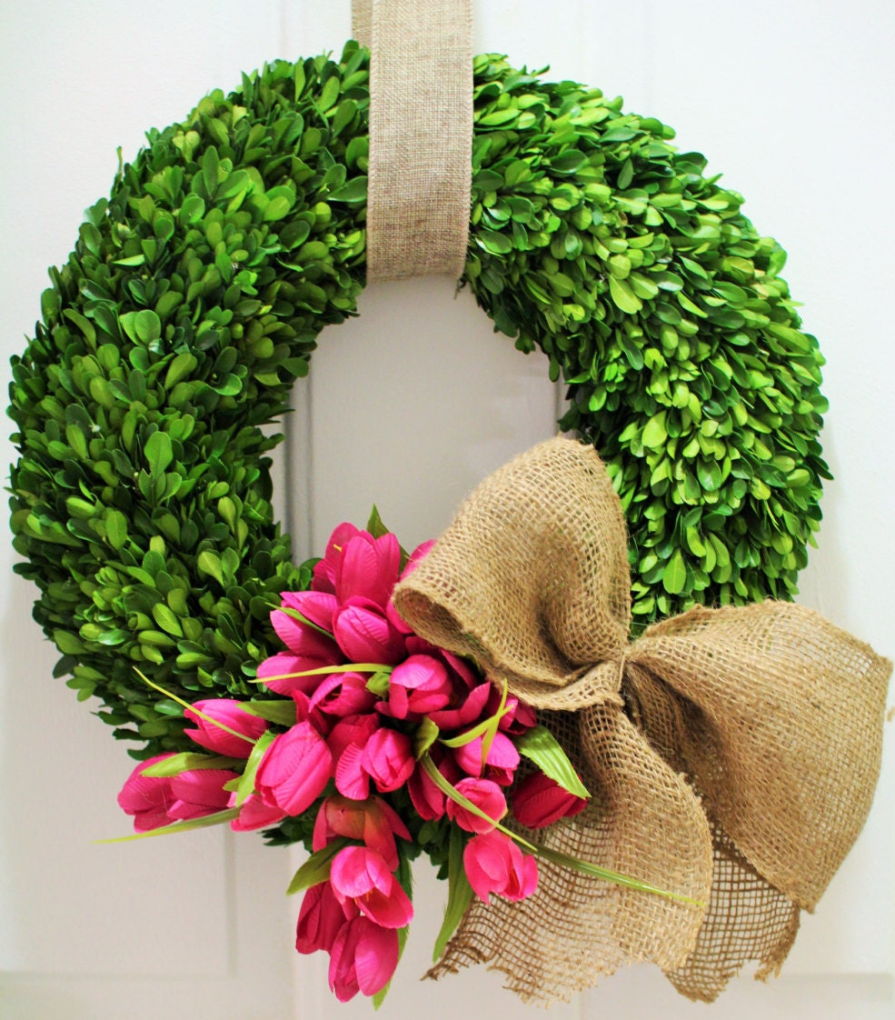 Spring wreath silk tulip wreath boxwood wreath preserved How to decorate a wreath