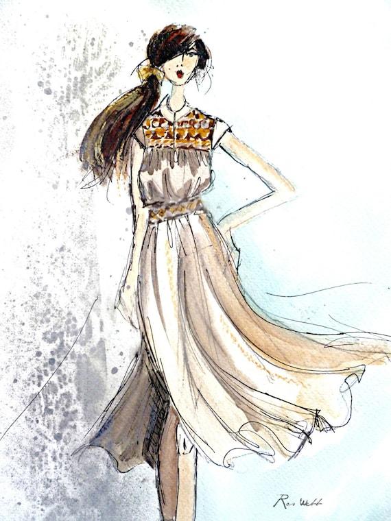 "Ruched Top Dress, Fashion Illustration, Art Print, Wall Decor, Printable Art, 8.5"" x 11"", PDF, Instant Download, Fashion Art, Art, Print"