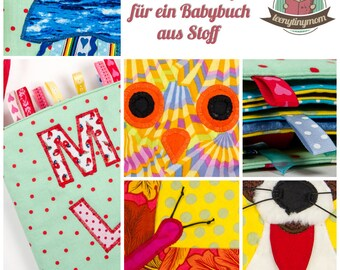 Sewing manual (ebook PDF) for a baby book from fabric to play and feel with 10 applications (german)