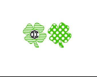 shamrock pattern monogram frame svg dxf file instant download stencil silhouette cameo cricut clip art commercial use
