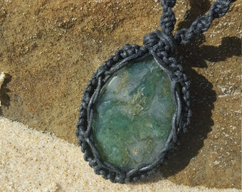 Moss Agate macrame necklace