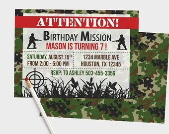 Army Birthday Invitation, Army Birthday Party, Army Birthday Invitations, Camouflage Invitations, Camo Invites, Army theme party, Army, Camo