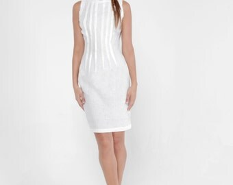 100% Linen Classic Pleated Dress with Unfinished Edges in White by Claudio Milano- Style 8304