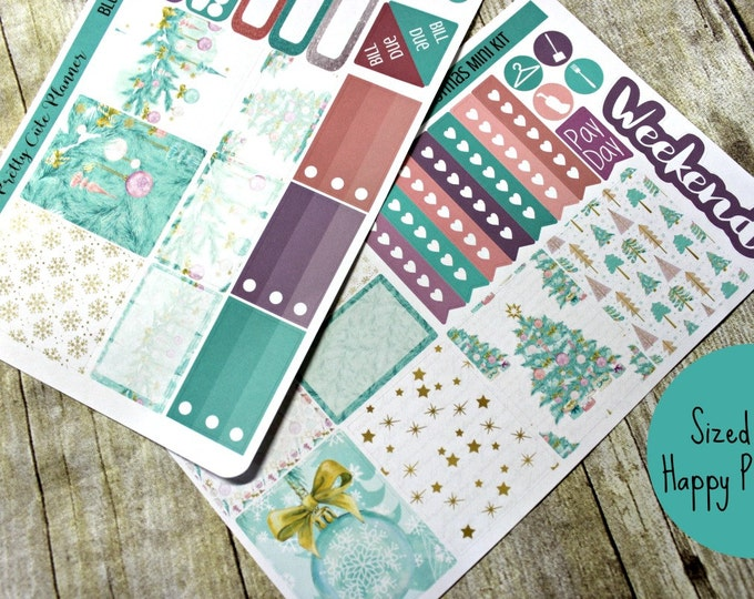 Happy Planner Stickers - Weekly Planner - Erin Condren Life Planner -  Functional stickers - Blue Christmas - Christmas Planner stickers