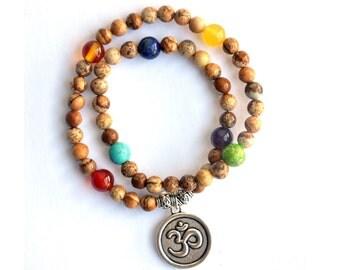 Jasper Om Mala Bracelet [54 beads]