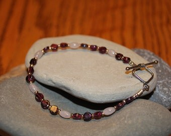 Garnet and Rose Quartz Bracelet
