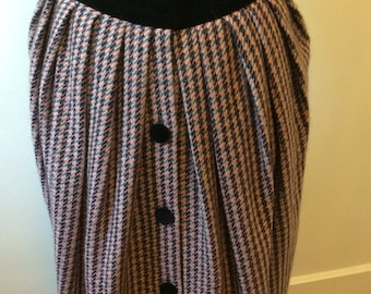 Vintage 1950's / Velvet and Tweed / Full Length / Button Up / Skirt