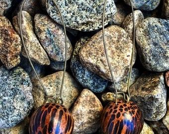 Earrings exotic wood beads