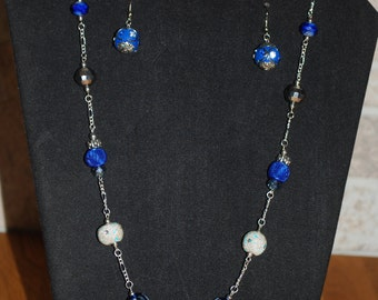 Blue and silver fashion necklace with matching earrings