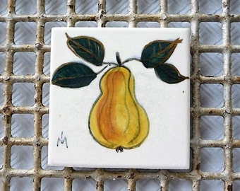 Denver Colorado -- Old Columbine Tile Manufacturing Company - ( Signed ) - Fruit - Pear Art Tile