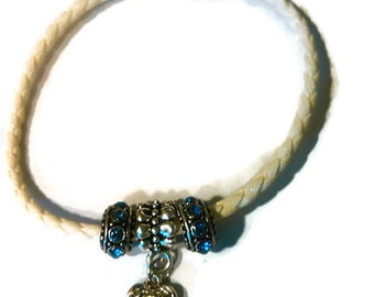 White Braided Pandora Style Leather Bracelet with a Blue CZ Heart Dangle Clearance