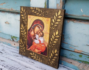 Virgin Mary Byzantine Icon,Mother of God Christian Art,Religious Handmade Art,Reproduction Christian Icon,Decoupage Religious Wall Art Deco