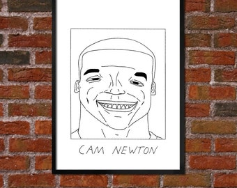 Badly Drawn Cam Newton - Carolina Panthers Poster - *** BUY 4, GET A 5th FREE***