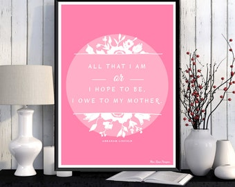 Mother's day poster, Mother gift, Quote poster, Love illustration, Home decor, Love you mom, Birthday gift mother, Wall art decor, Gift idea