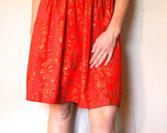 Gorgeous Red Wrap Dress with Gold Flowers