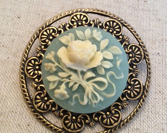 Round Blue Rose Cameo Brooch
