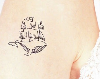 whale temporary tattoo / boat temporary tattoo / nautical tattoo / sailor temporary tattoo / ship temporary tattoo