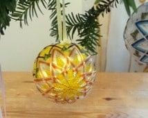 Yellow Christmas tree decoration, Mini Temari, Japanese chrysanthemum, Origami gift wrapped ornament, Silk embroidered ball, Handmade in UK