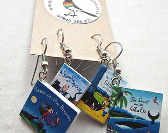 "Julia Donaldson Collection of Book Earrings from ""The Earring Library"""