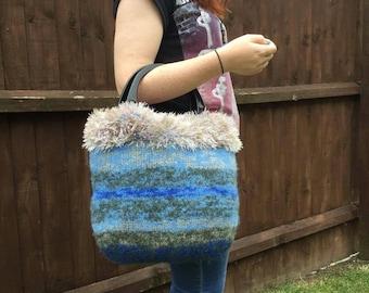 SALE - Large blue and green felted handbag