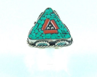 Ethnic ring stop turquoise