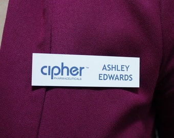"1 "" x 3.5"" Engraved Two-Color Plastic Nametag with Magnetic Backer"