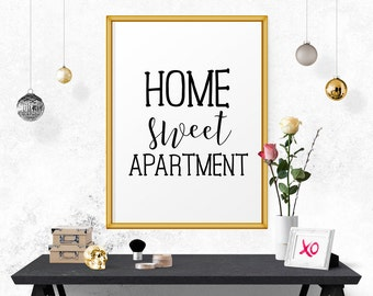 Home Sweet Apartment, Apartment Decor, Home Decor, Art Print, Wall Decor, Minimal Art Print, Typography Poster