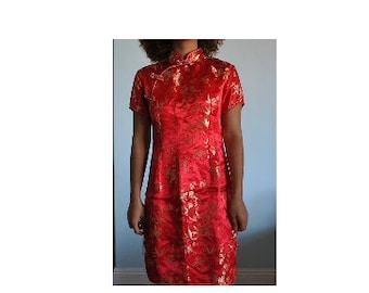 RESERVED for haley- Size Large traditional red Chinese dress