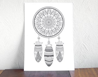 Printable Coloring Pages, Instant Download Coloring Page Not Book, Dreamcatcher Print and Color, Tribal Nursery Coloring Page