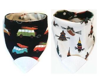 Baby Teething Bib- Hankerchief Bib- Teether Bib- Teething Corner- Chew Bib- Bandana Bib- Drool Bib- Bibdana- Silicone Bib- Surf Van & Fish