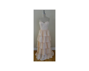 1980s TD4 Light Pink Strapless Tiered Ruffle Dress