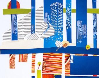 Original Collage Art / Paper Collage Art / Unusual Art / Paper / Mixed Media Collage / Literature / The Nose / city / Gogol / Illustration