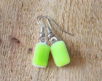 Lime Green Fused Glass Earrings