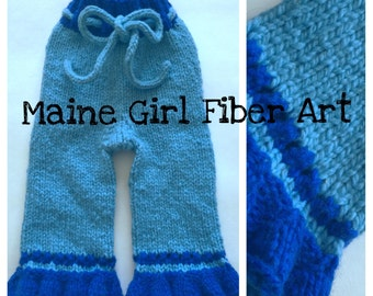 0-6 month Hand Knit Blue Girl Wool Longies Pants Cloth Diaper Cover