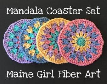 Mandala Coaster Set of 4 100% Cotton Crochet Pastel Colors All Natural Fiber Tea Set