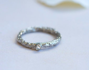 White Gold Twig Ring~Diamond Twig Ring~White Gold Diamond Twig Ring~White Gold Engagement Ring~Solitare Engagement Ring~Twig Engagement Ring