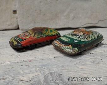 2 Vintage Tin Plate Cars Pinnochio and Cowboy German Tin Toys Car Retro Tin Plate Childrens Toys
