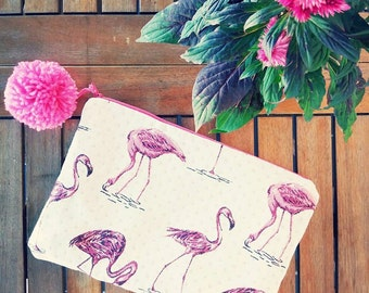Flamingo Pink, accessory pouch and bag.