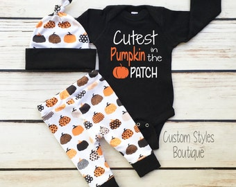 Baby Boys First Halloween Outfit, Black Infant Bodysuit, Leggings And Hat With Pumpkins, Baby Boy Halloween Outfit Set
