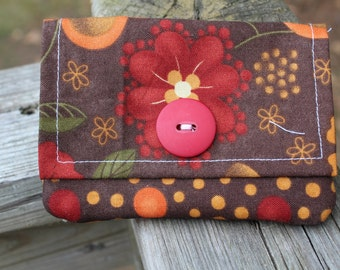 Card Wallet-Fall flowers with polka dot accent colors