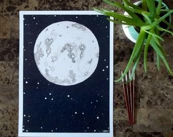 Moon and Stars 12x16 Print