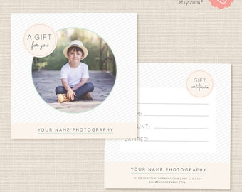 Photography Gift Certificate Template, Photo Gift Card, Printable, Photoshop Template, Photography Marketing Set, Kit, PSD, Photographers