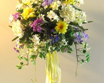 Multi Color and Flower Bridal Topiary, Creamy Roses Yellow Daisies Purple Lilacs Wedding Centerpiece, Wine Cream Yellow Table Decoration,